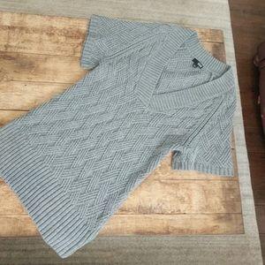 Gray sweater dress w short sleeves & deep V neck